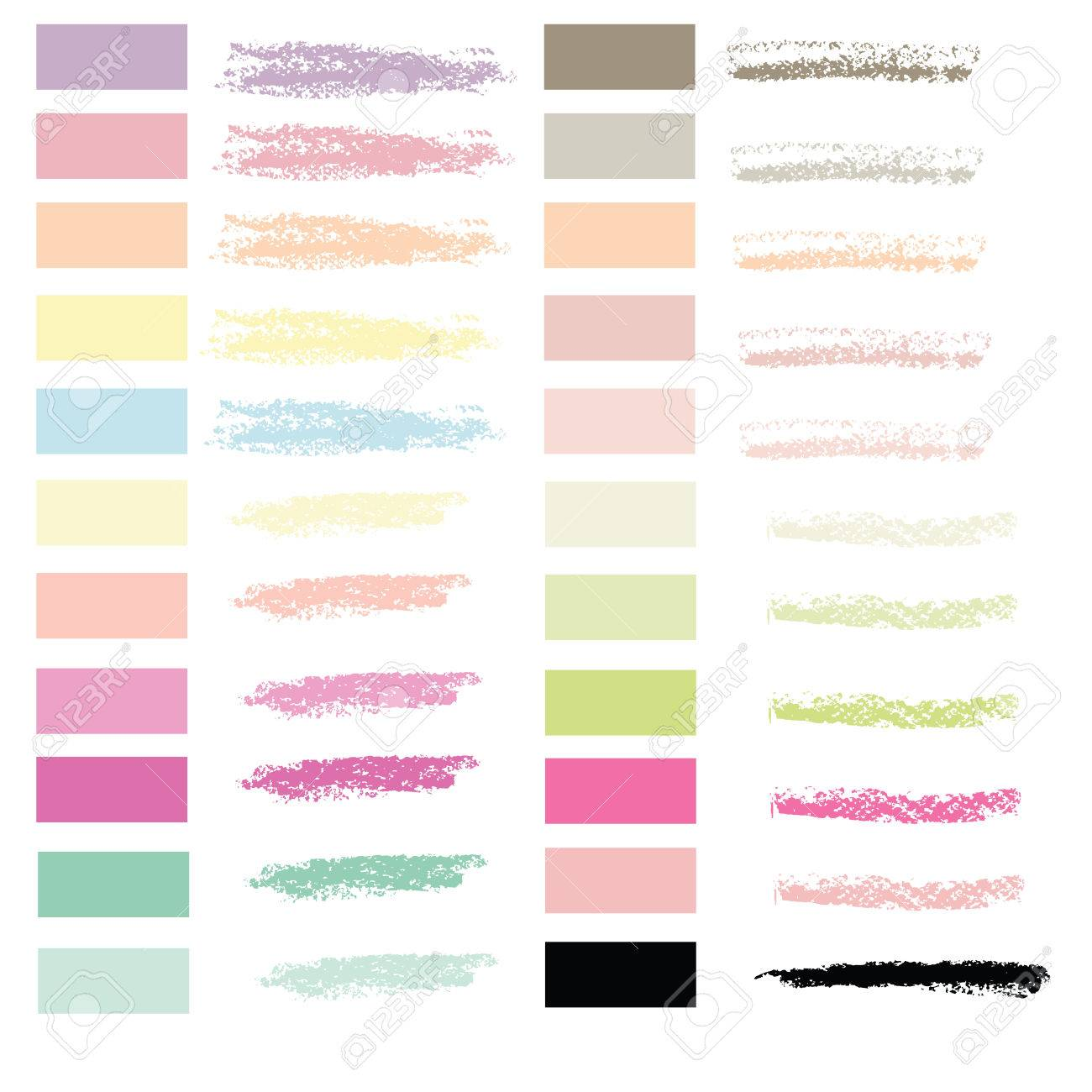 art brush in chalk pastel 22 colors set vector for use in graphic