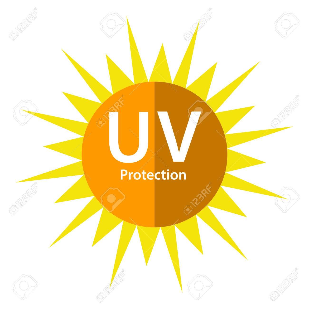 太陽のシンボルと uv 保護ロゴ ロイヤリティフリークリップアート