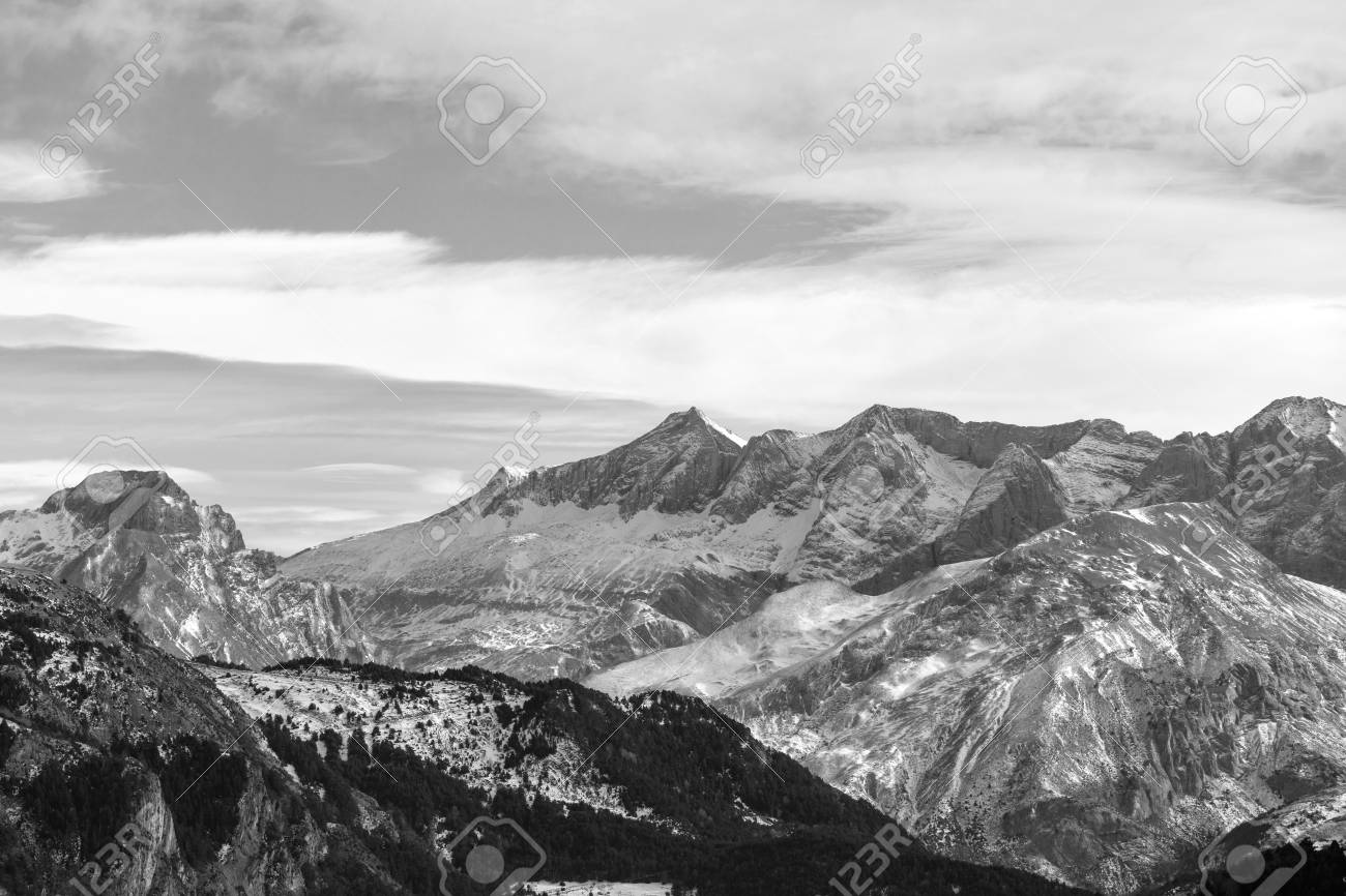 Snowy mountains landscape black and white photography big size stock photo 97004565