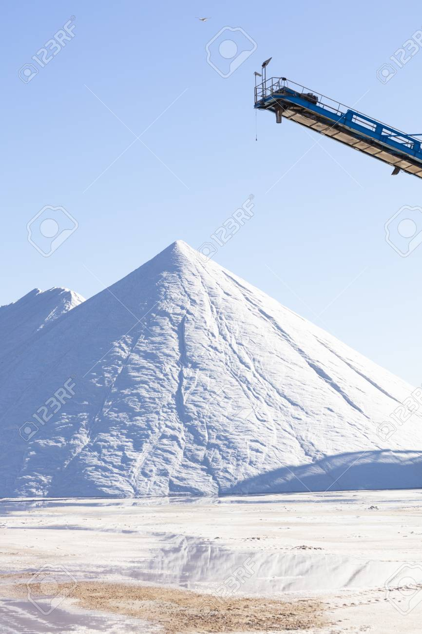 white salt mountain on blue background, high resolution image and size - 116921199