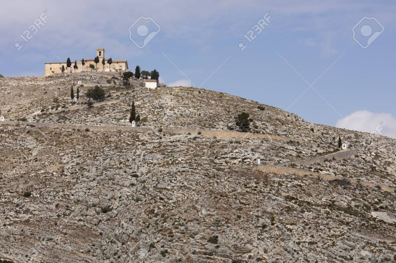 ermitage of saint christ on top of the hill in Bocairent, Spain with the pathway - 123523493