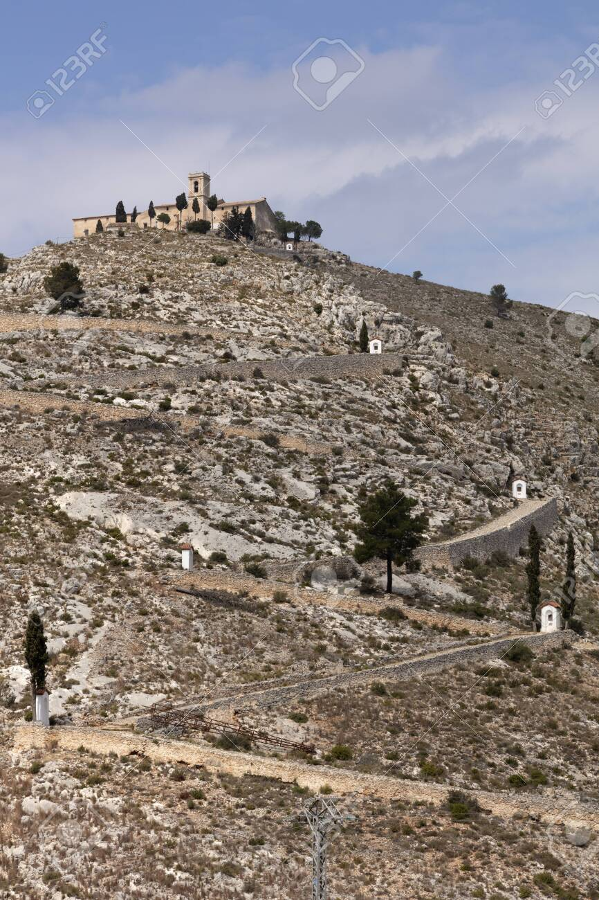 ermitage of saint christ on top of the hill in Bocairent, Spain with the pathway - 123523494