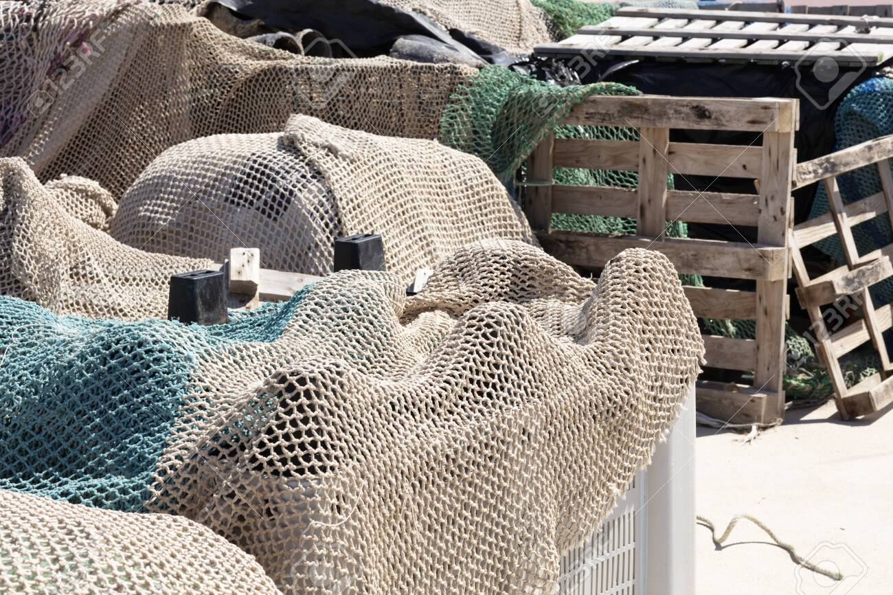 fishing nets in the port revised in plastic boxes to be used, with wooden boxes in the background - 123523612