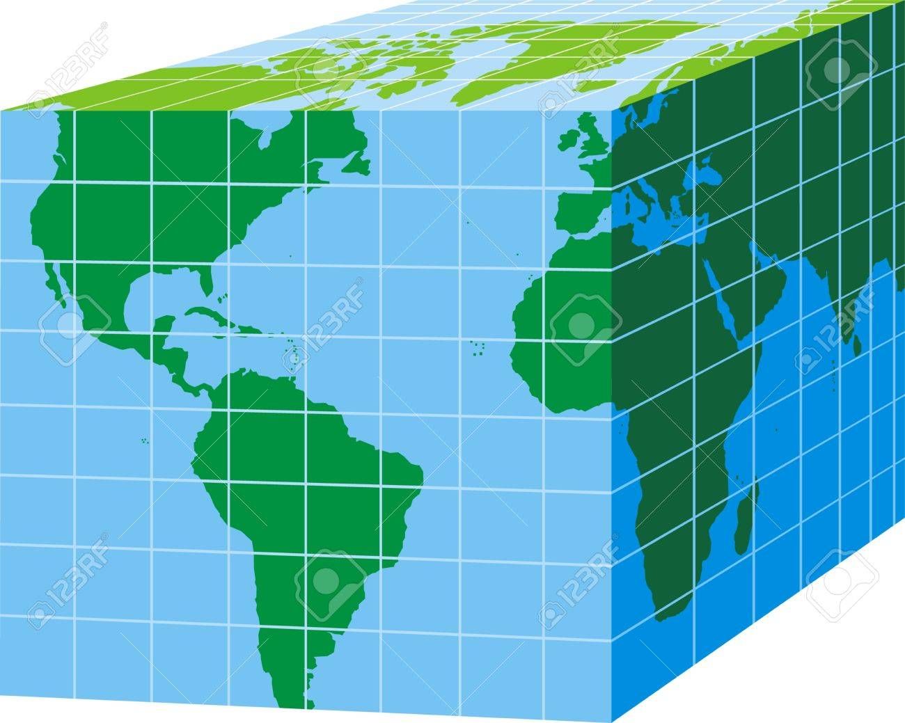 Green world map on blue cube isolated on white background royalty green world map on blue cube isolated on white background stock vector 18315587 sciox Gallery