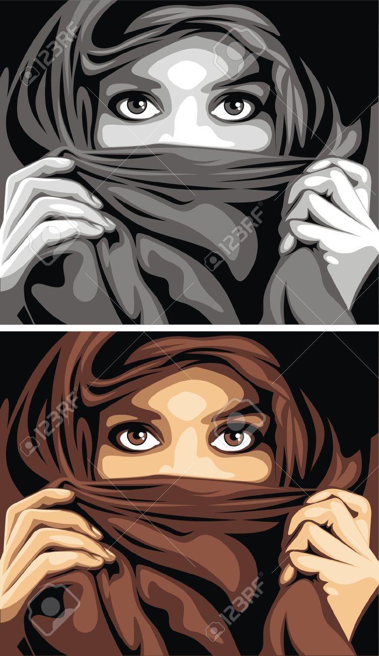 very nice arabian girl and her beautiful eyes Stock Vector - 18580452