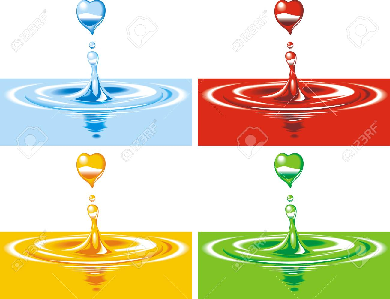 colored drops on the water surface isolated on white background Stock Vector - 18580751