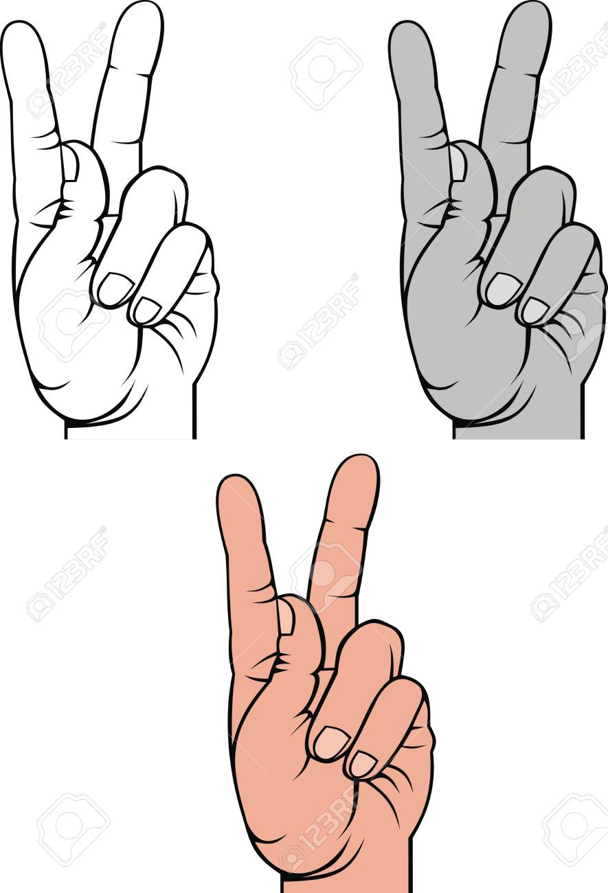 hand and victory in three versions isolated on white background Stock Vector - 19206878