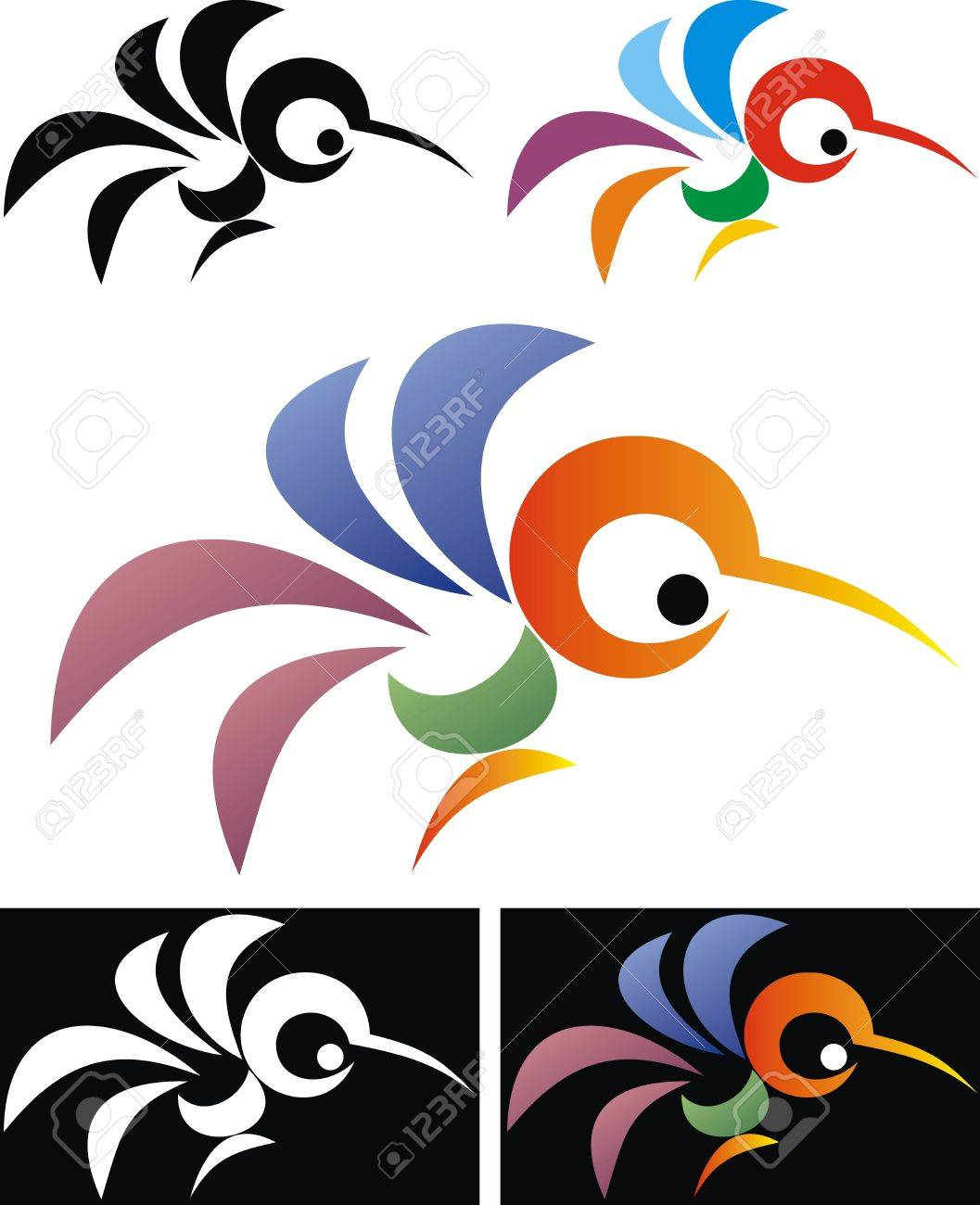 abstract color bird isolated on the  white and on the black background Stock Vector - 19316059