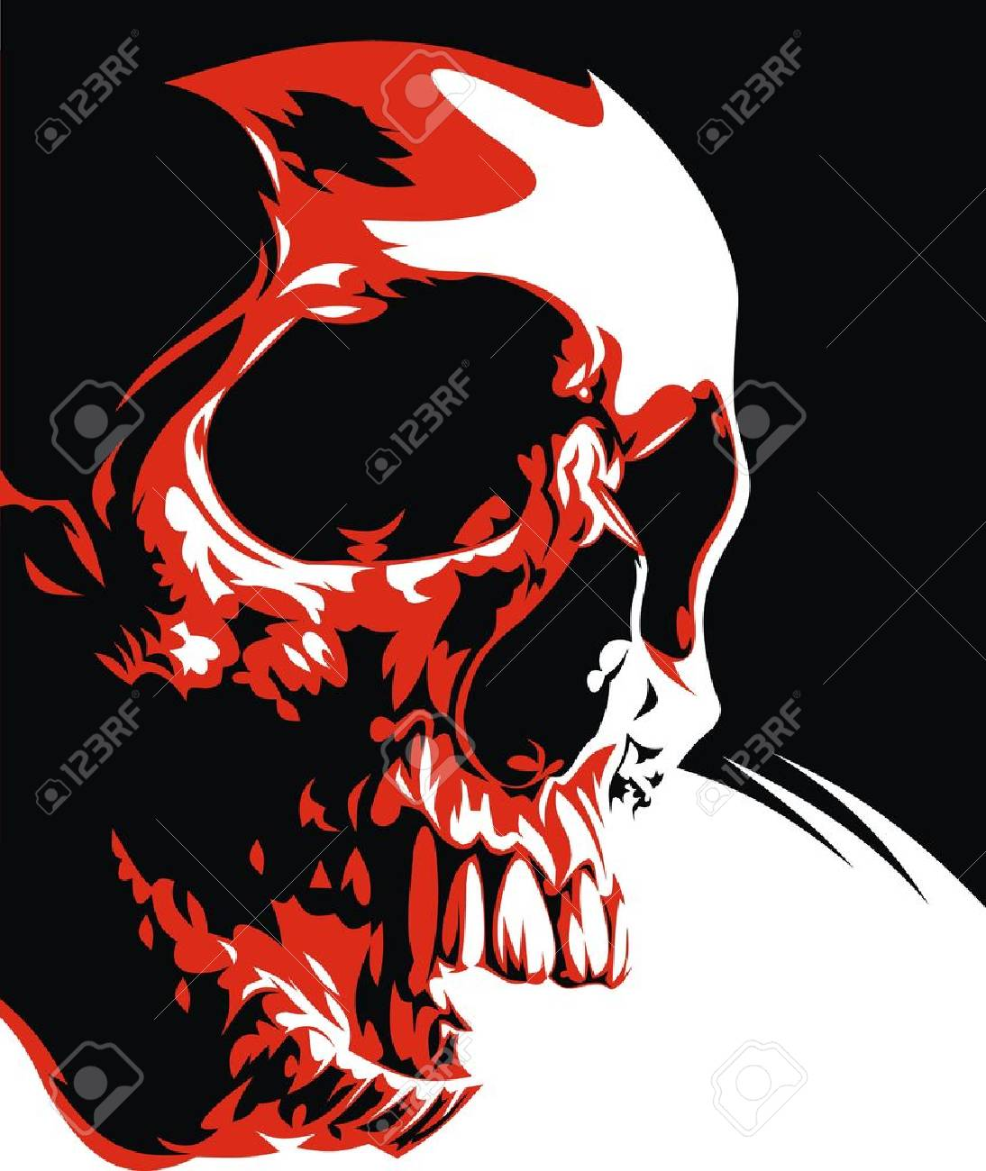 natural humen skull in the black red and white Stock Vector - 19316034