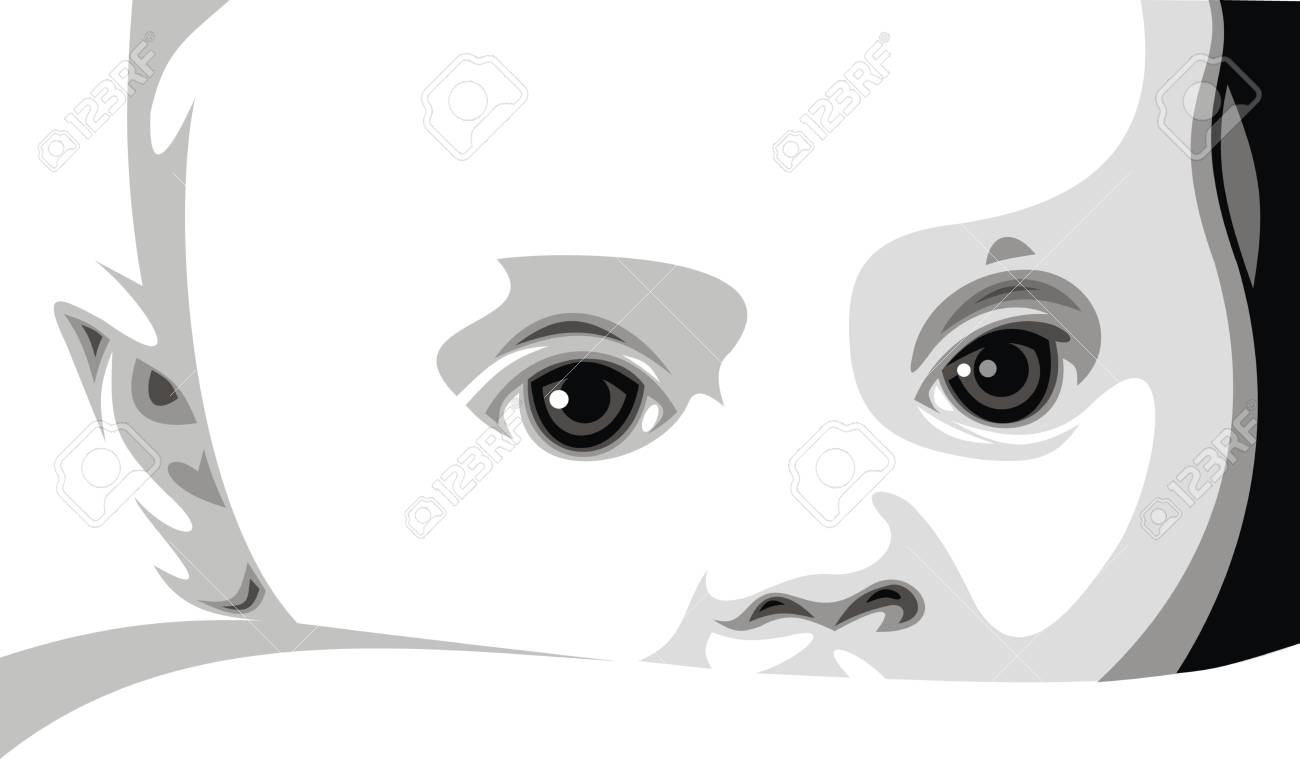 sweet baby face on the white background Stock Vector - 19565760