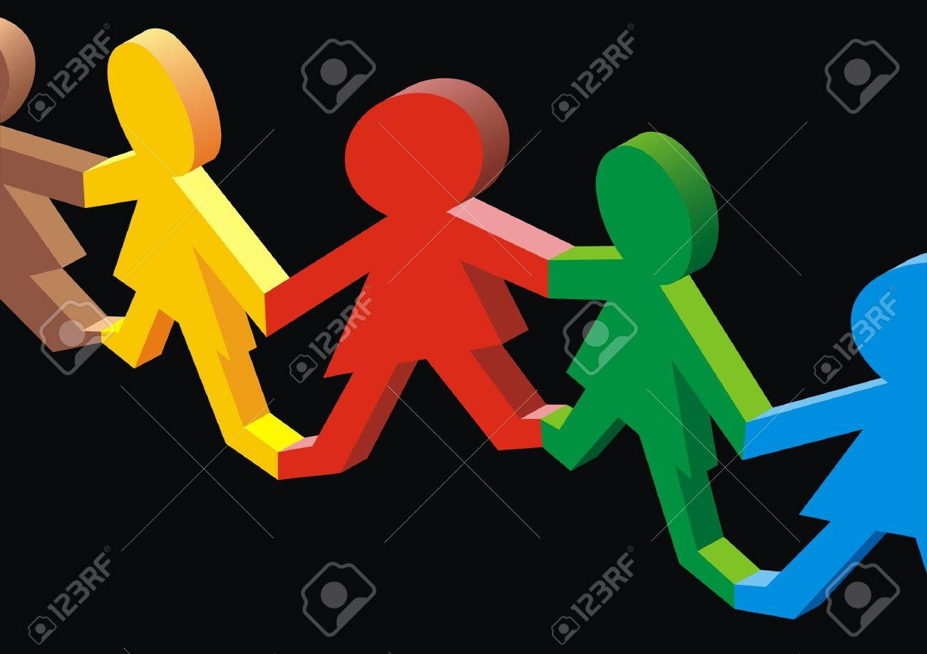 nice multicultural society on the black background Stock Vector - 20104608