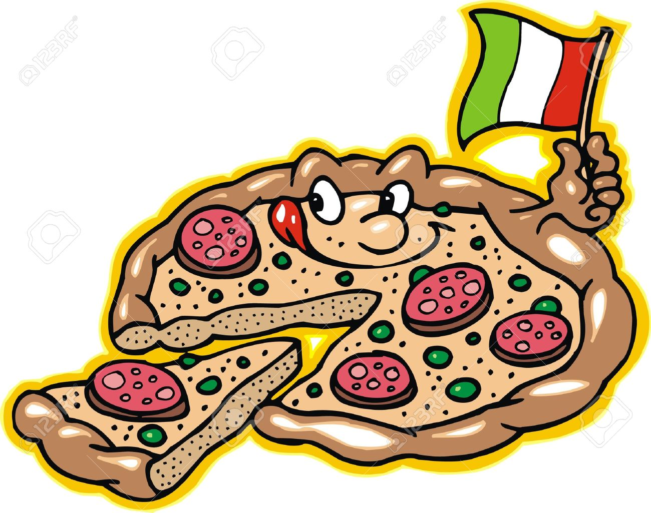 Animated Pizza Background pizza is smiling isolated on
