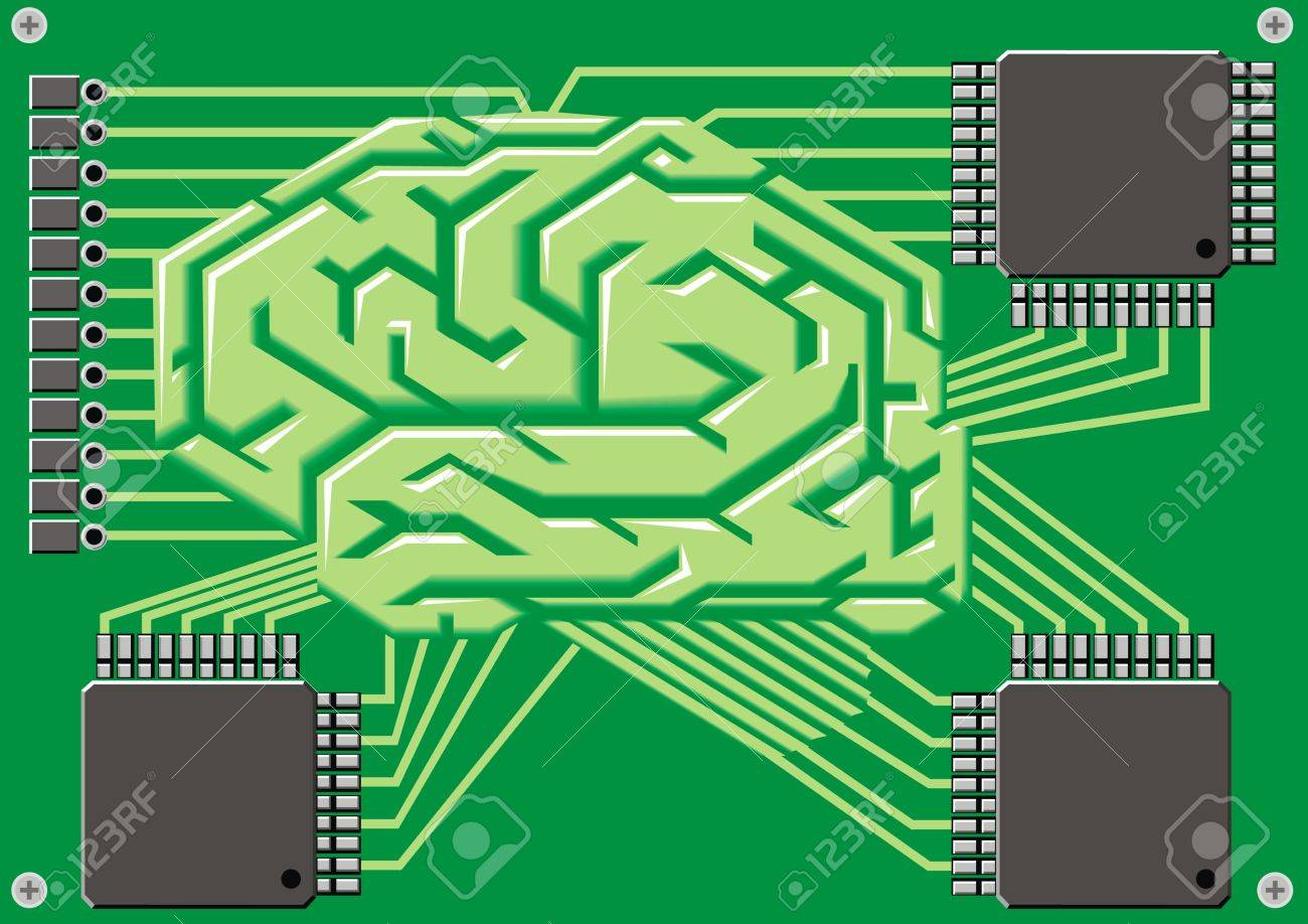 brain as motherboard on the green background Stock Vector - 20778230