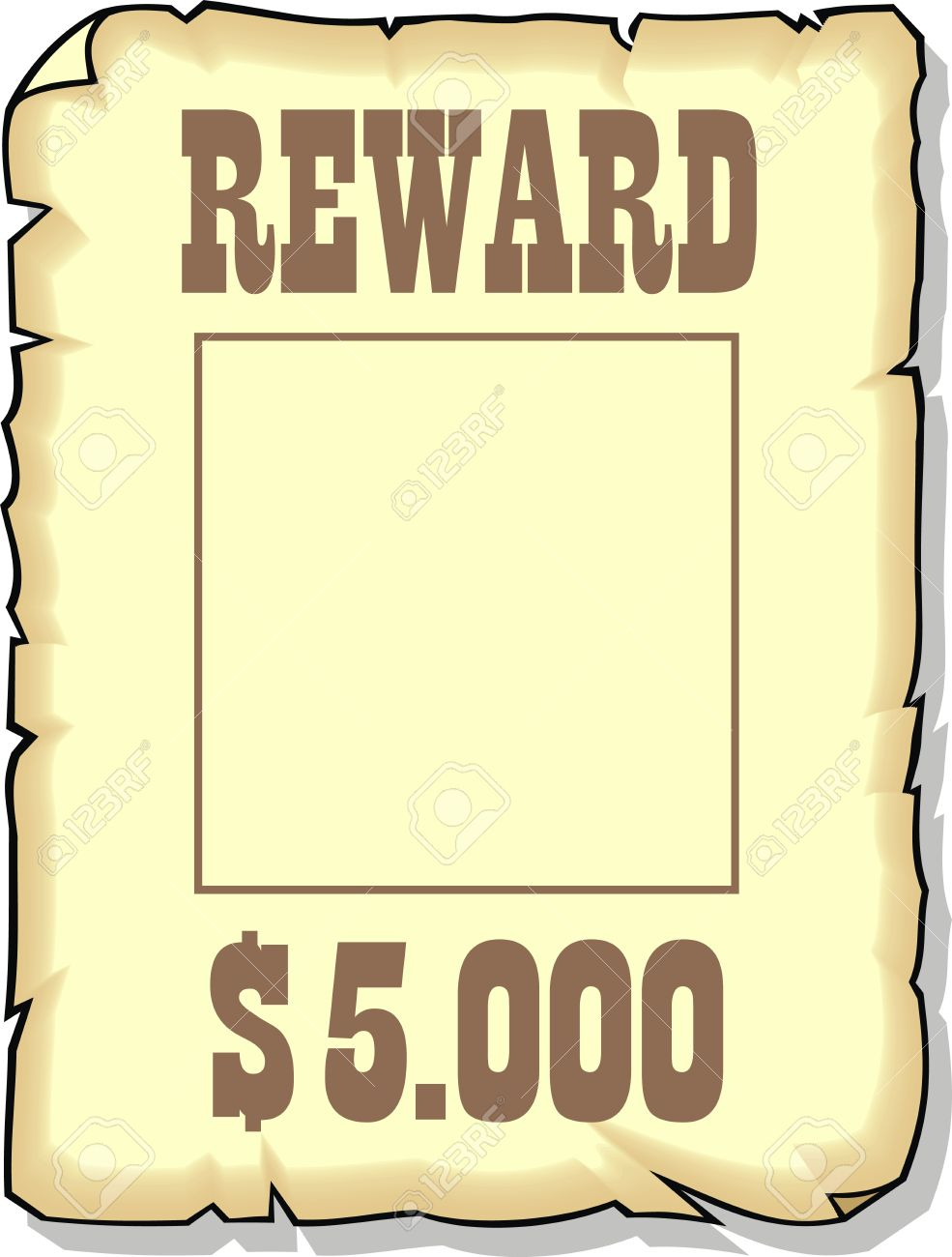 sepia reward 5000 dollars as nice background royalty free cliparts rh 123rf com wanted poster clipart free wanted poster border clip art