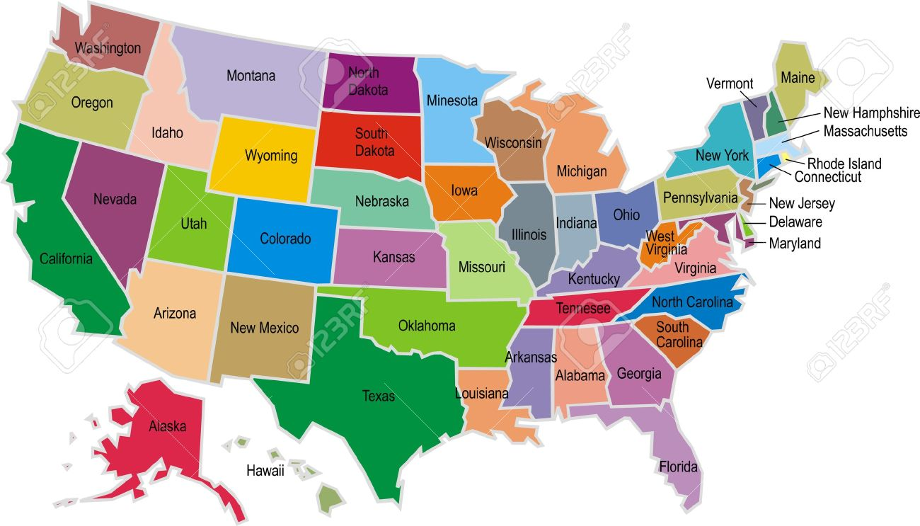 Colored USA Map Isolated On White Background Royalty Free Cliparts - Colored usa map