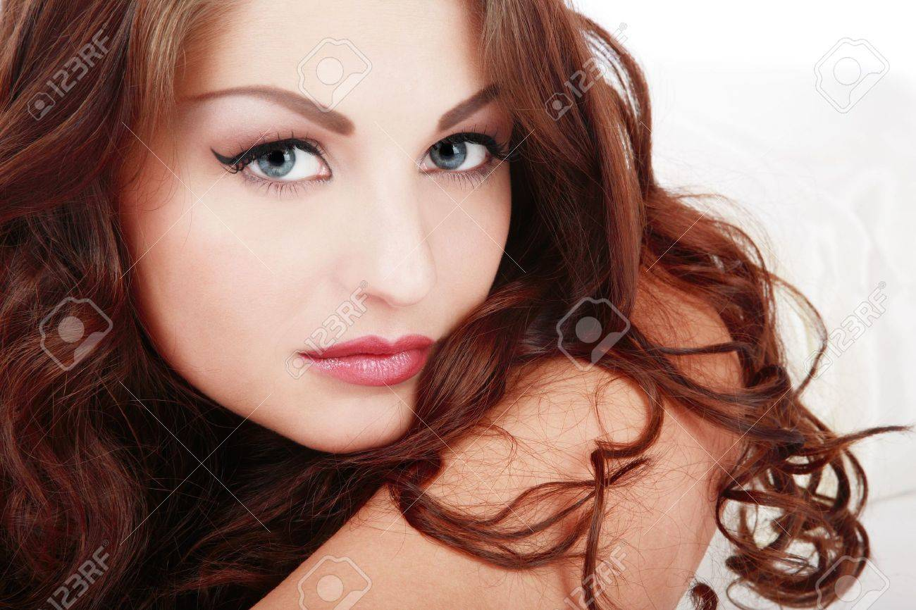 Portrait of beautiful blue-eyed girl with curling hair Stock Photo - 2935622
