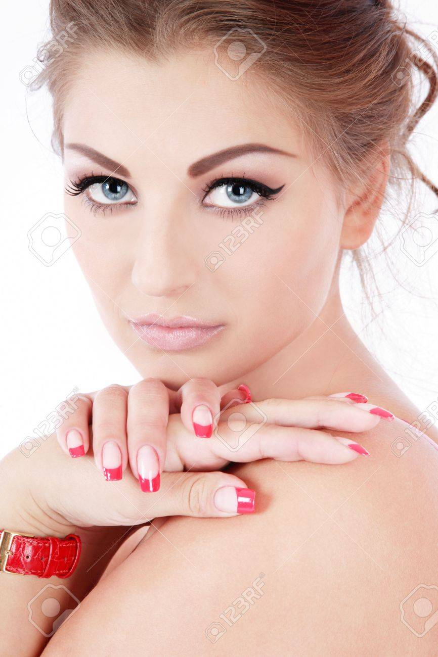 Portrait of beautiful blue-eyed woman with trendy makeup and perfect skin and nails Stock Photo - 3024582
