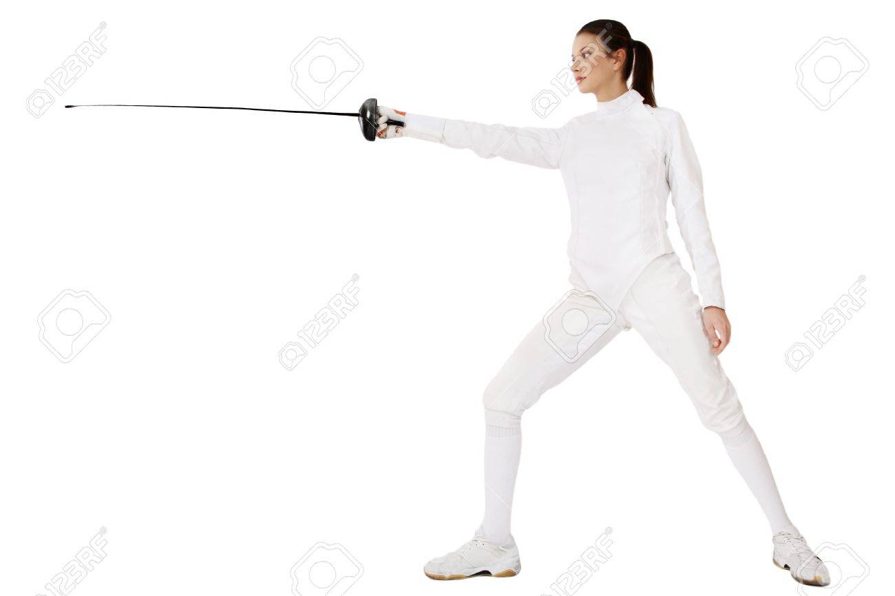 Slim girl in fencing costume with sword in hand over white background Stock Photo - 3896955