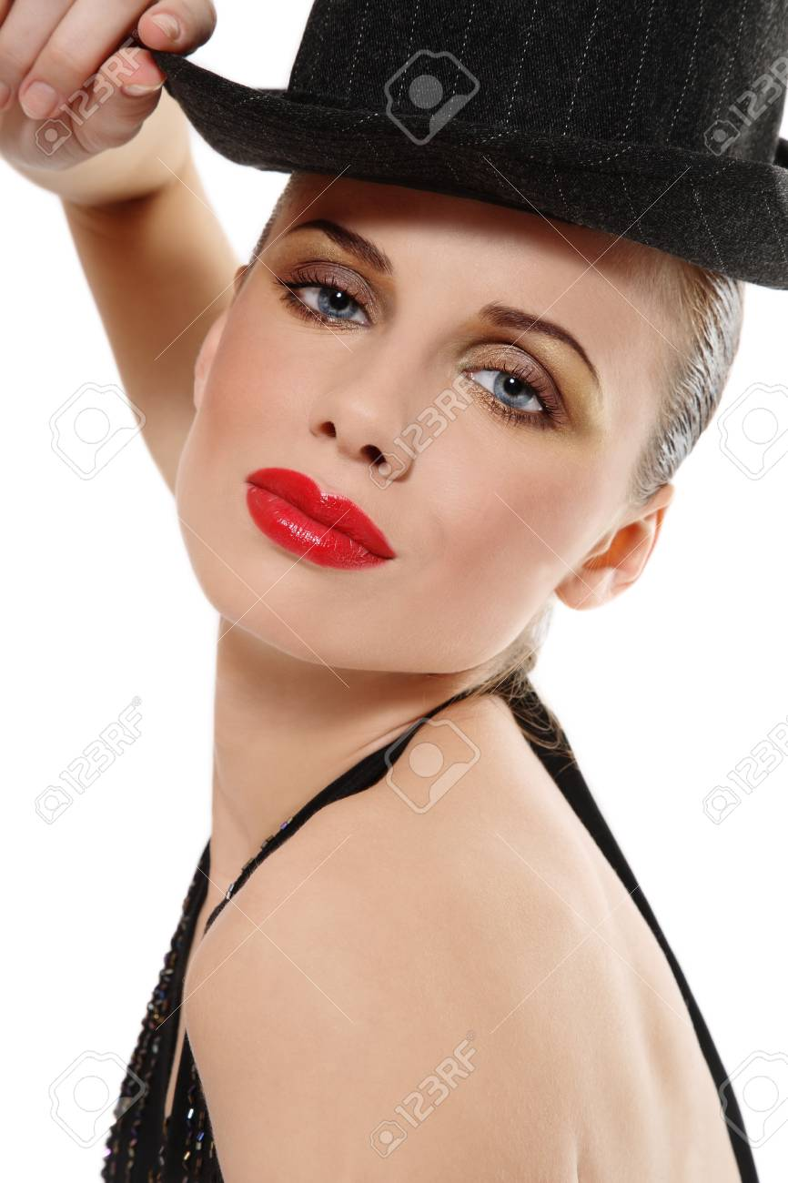Portrait of beautiful girl with stylish makeup over white background Stock Photo - 4423774