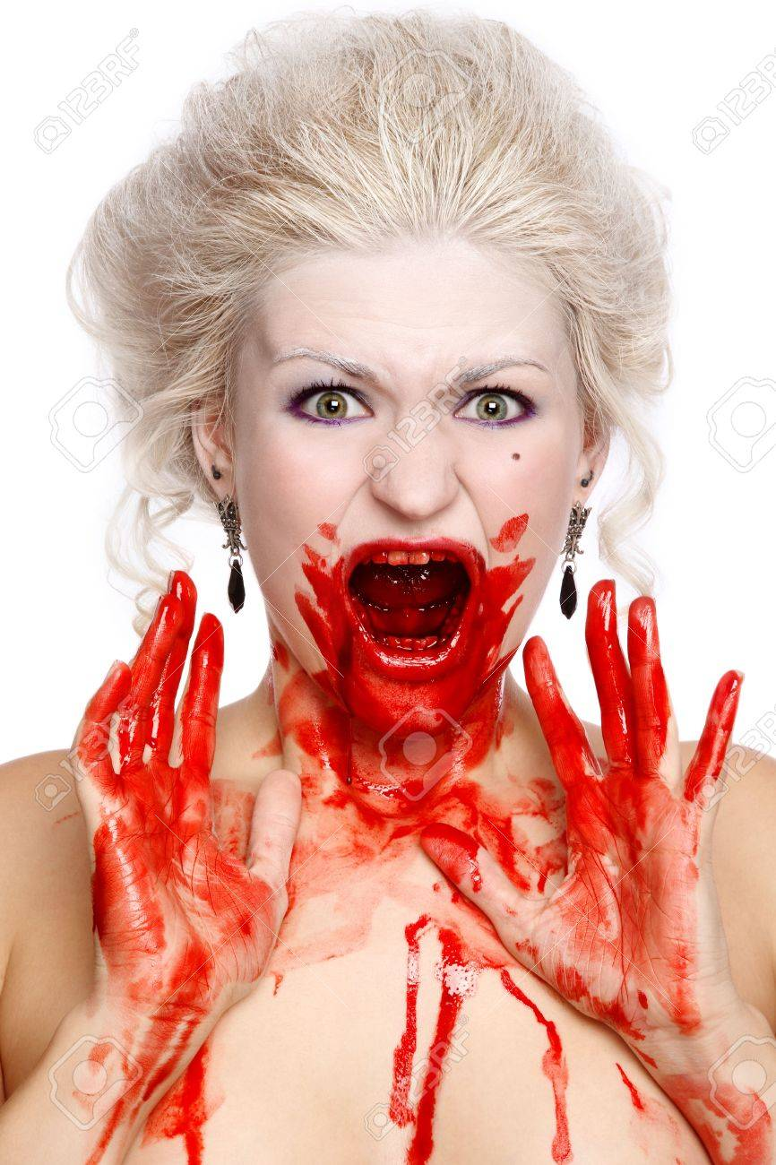 Portrait of blond bloody crying woman with old-fashioned hairstyle Stock Photo - 6619380