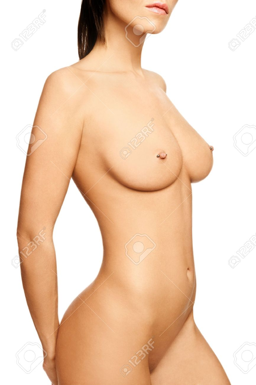 Beautiful slim sexy naked woman torso with pierced nipples over white background Stock Photo - 6935146