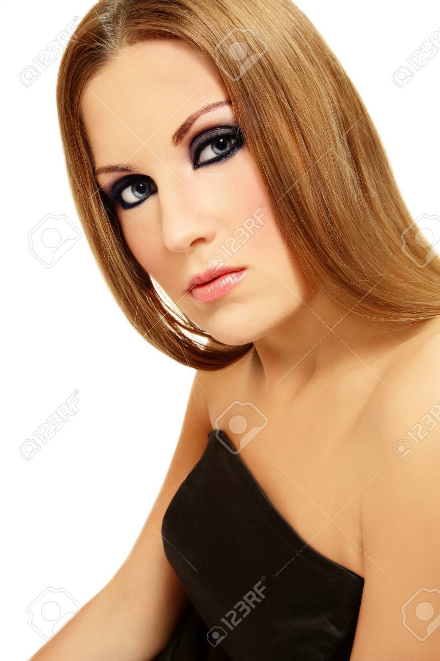 Beautiful girl with smoky eyes and long blond hair on white background Stock Photo - 7501300