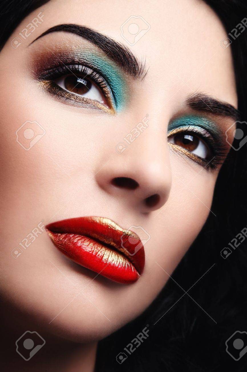 Close-up shot of beautiful woman face with bright glamorous make-up Stock Photo - 7956533