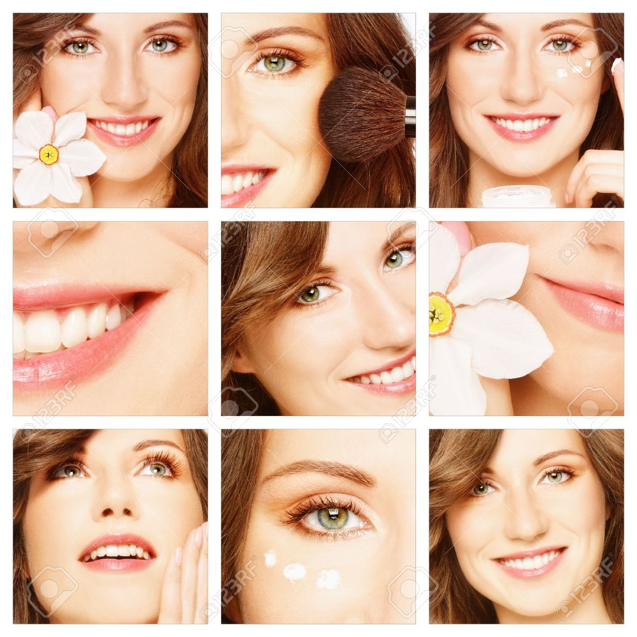 Collage with young beautiful happy healthy smiling woman. Beauty, makeup and skin care Stock Photo - 8786144