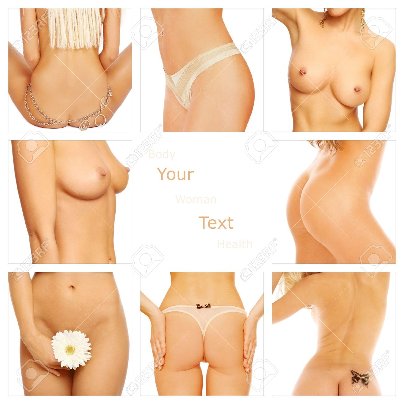 Collage with slim tanned women's body parts with copy space in center. Beauty, health, cosmetology. Stock Photo - 8786146