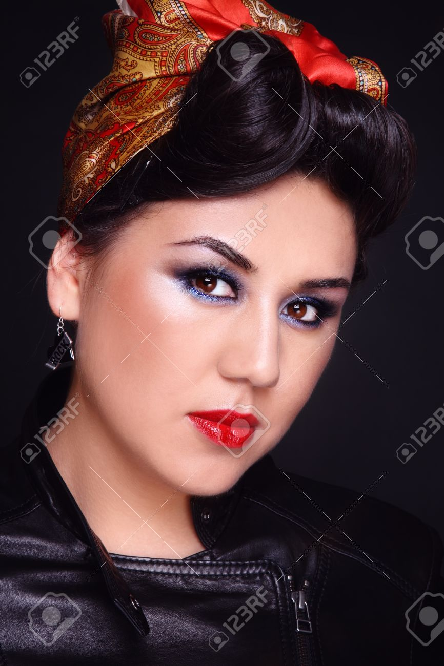 Portrait Of Beautiful Asian Girl With Rockabilly Style Hairdo