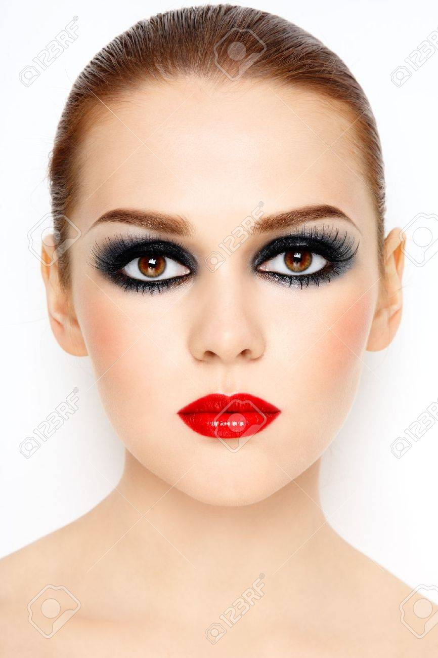 Beautiful young woman with stylish trendy make-up - 10697097