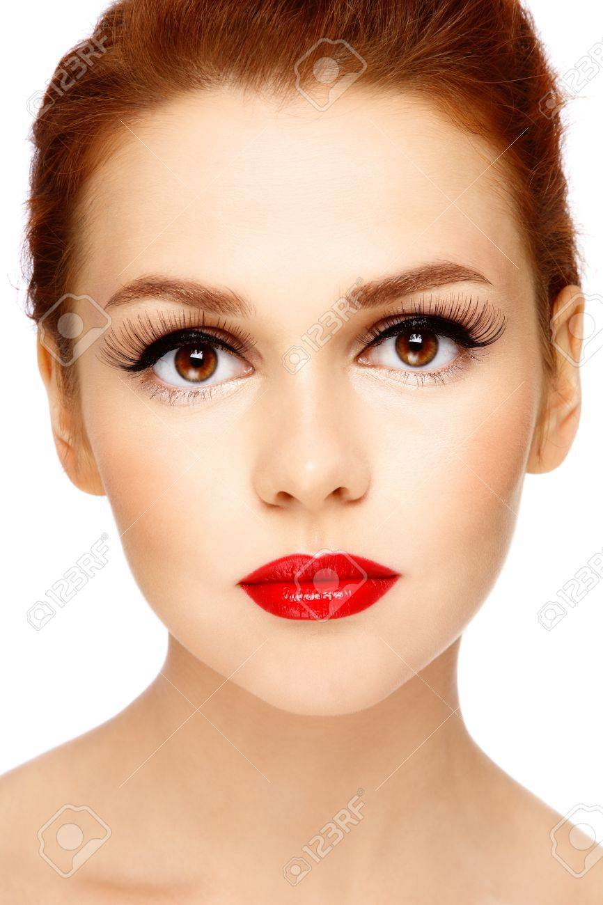 Close-up portrait of young beautiful woman with stylish make-up on white background Stock Photo - 10697112