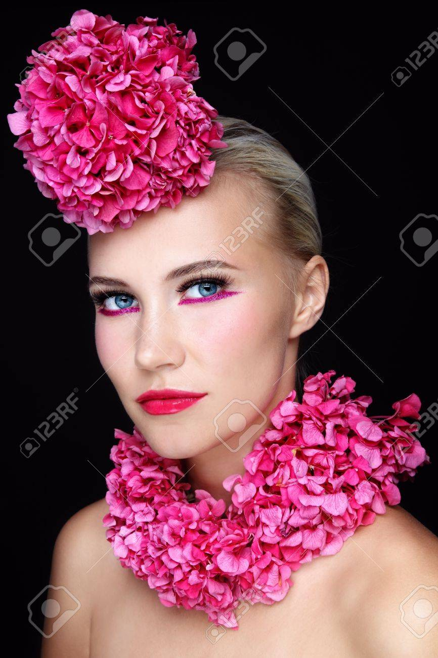 Portrait Of Young Beautiful Girl With Stylish Sparkly Pink Make Up