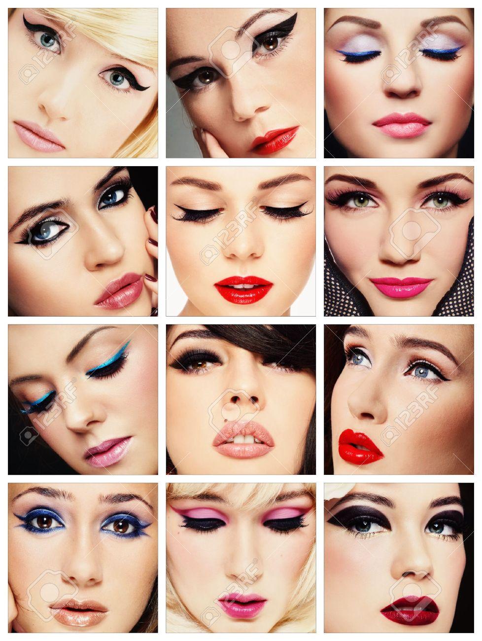 Belles jeunes femmes avec des yeux de chat élégant de maquillage. Maquillage,  mode, beauté.