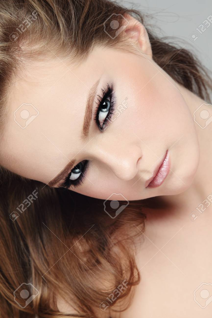 Portrait of young beautiful girl with smoky eyes Stock Photo - 16711482