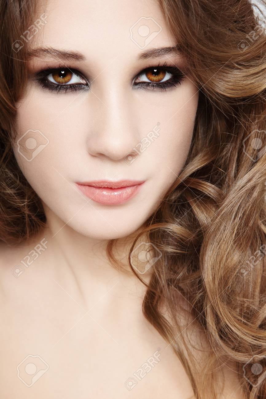Close-up portrait of young beautiful girl with smoky eyes Stock Photo - 17104316