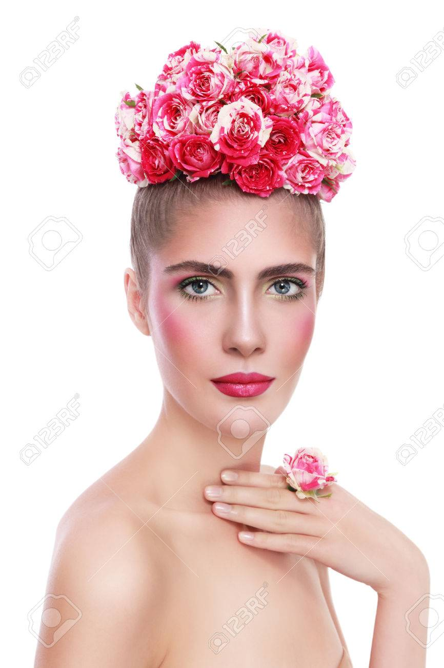 Young Beautiful Woman With Flower Headband On Her Head Over White