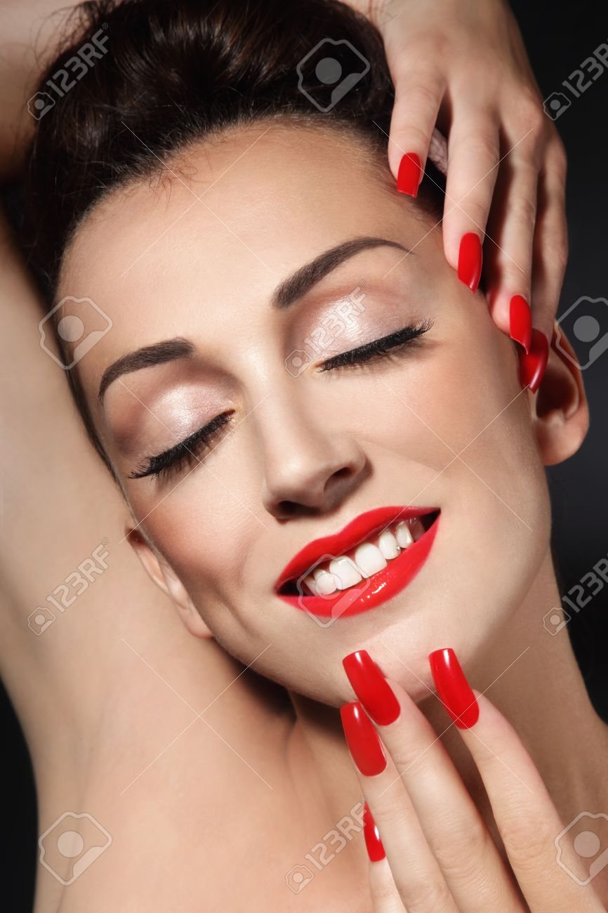 Portrait Of Young Beautiful Smiling Girl With Long Red Nails.. Stock ...