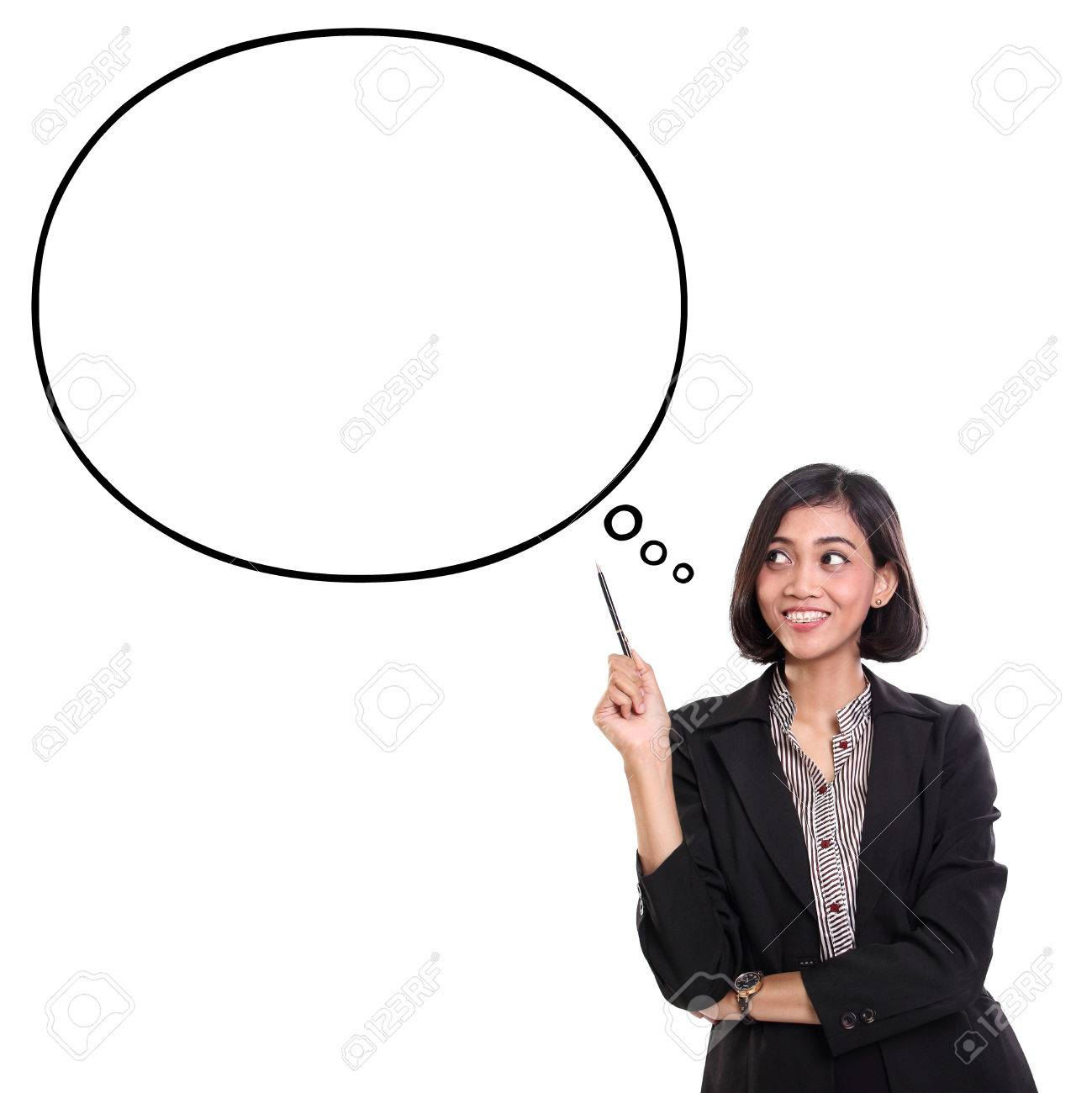 Cheerful Asian Businesswoman Looking At An Empty Thought Bubble