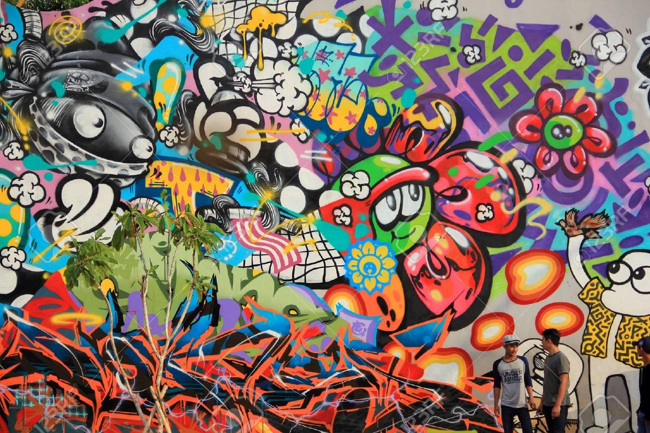 Admirable JAKARTA, INDONESIA. May 27th, 2017. Urban Graffiti Arts Painted LB-23
