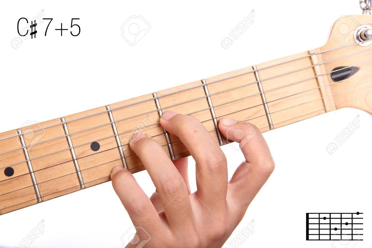 C75 Advanced Guitar Keys Series Closeup Of Hand Playing Stock