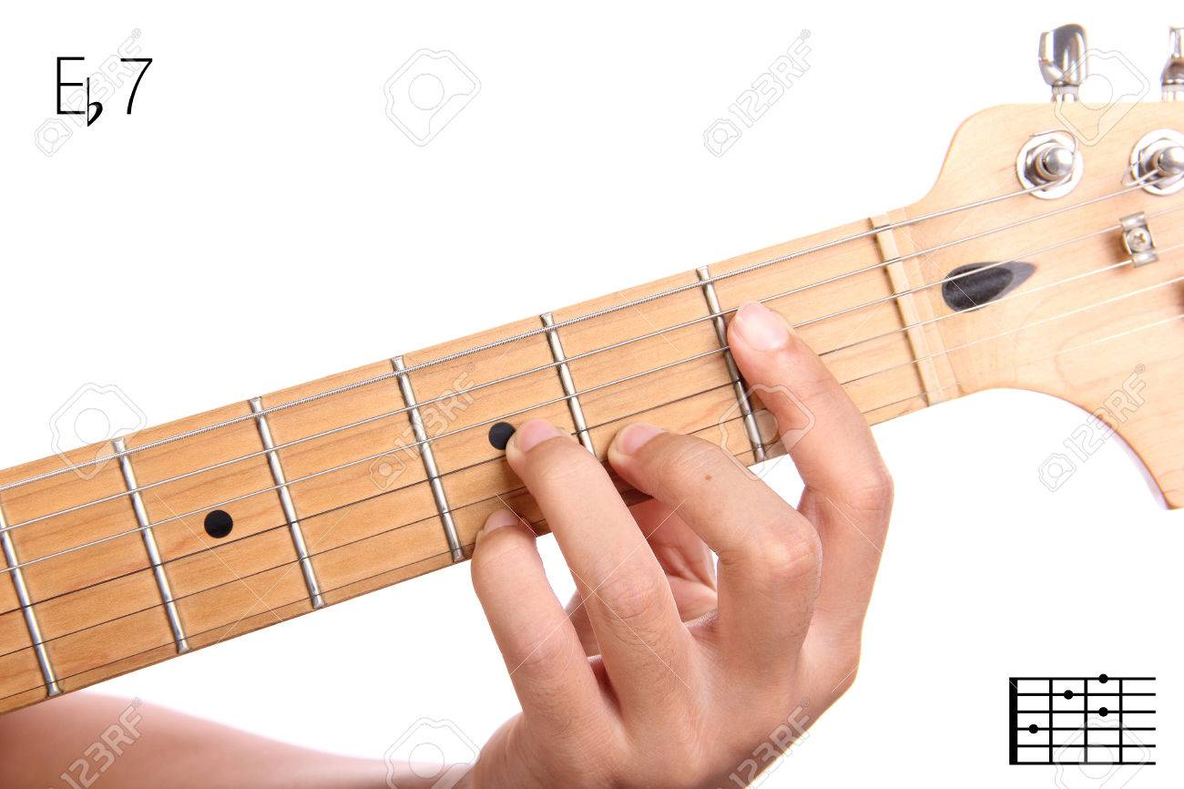 Eb7 Closeup Of Hand Playing E Flat Dominant Seventh Chord Stock