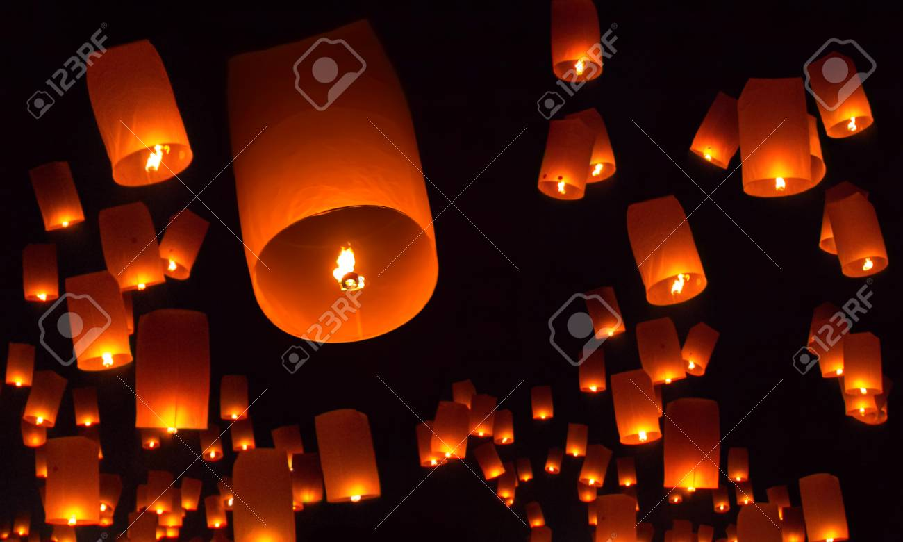 Floating Lanterns Over The Night Sky Background Stock Photo Picture And Royalty Free Image Image 107928964
