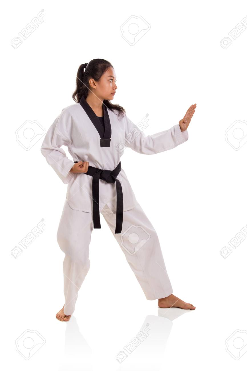 Side Profile Of Female Martial Artist In Her Fighting Stance Stock Photo Picture And Royalty Free Image Image 110088332