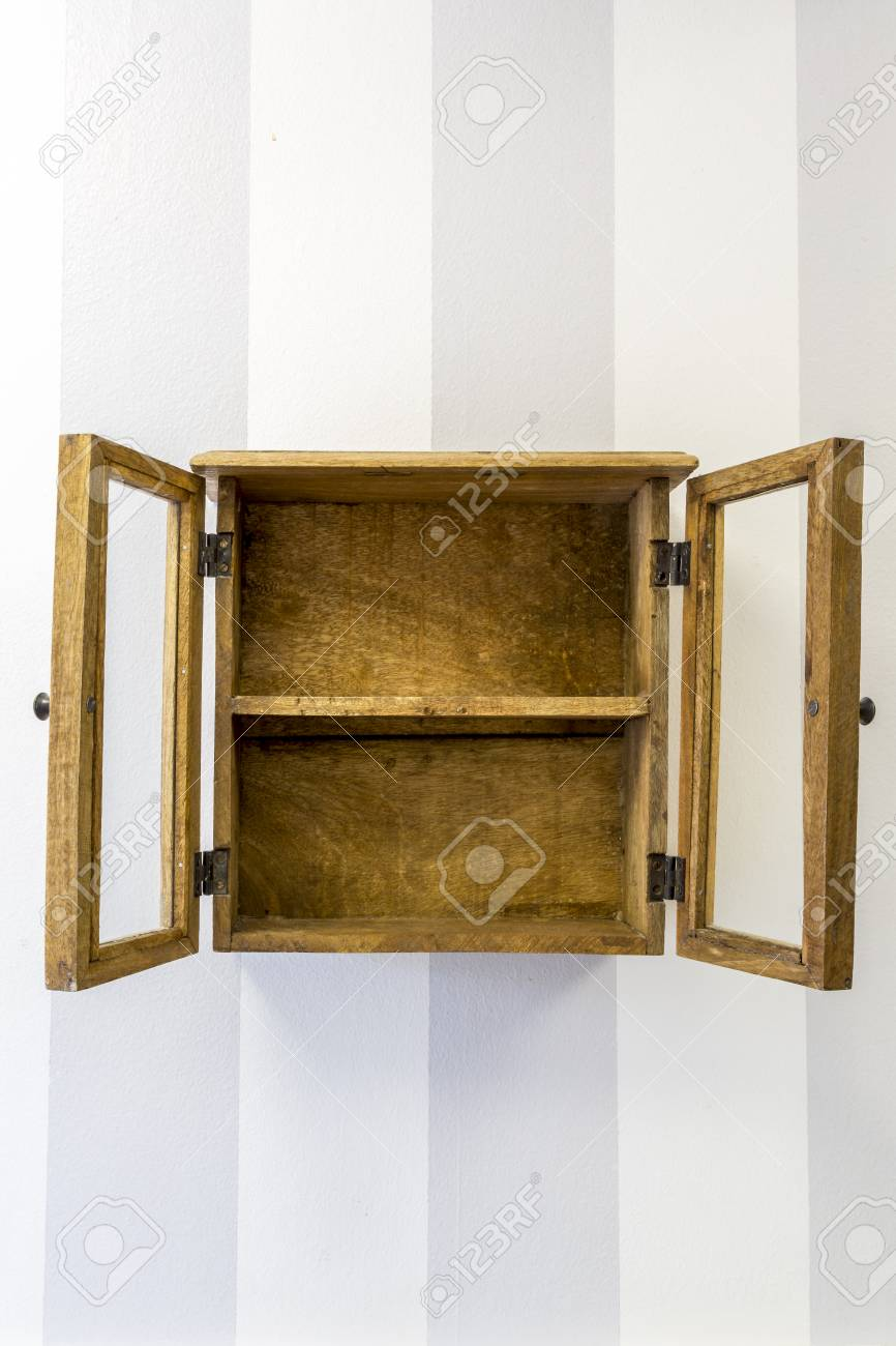 Empty Rustic Wall Mounted Display Cabinet, Vertical. Stock Photo   58867555
