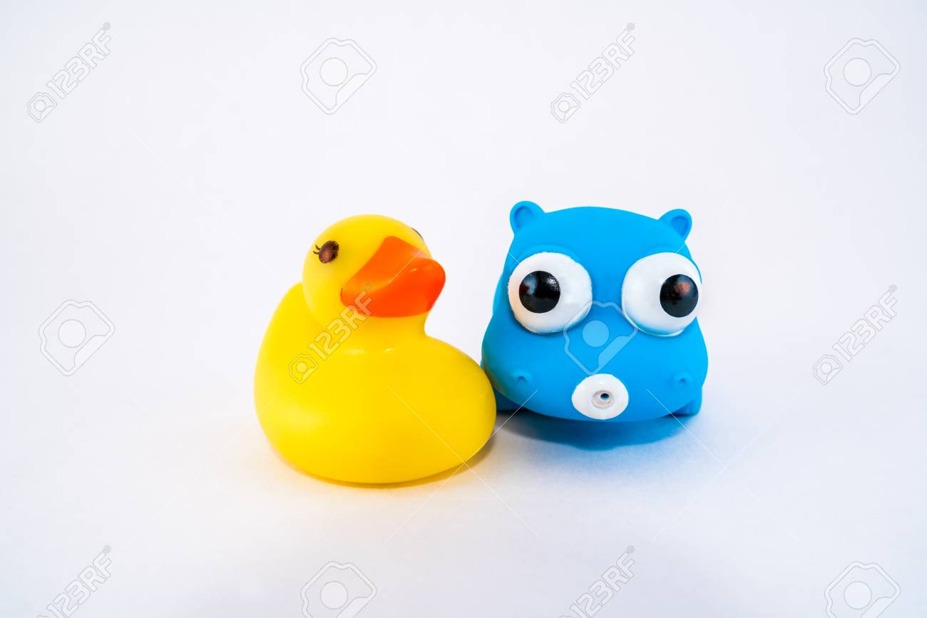 Isolated Bath Toys Animals, Plastic Duck And Hippo. Stock Photo ...