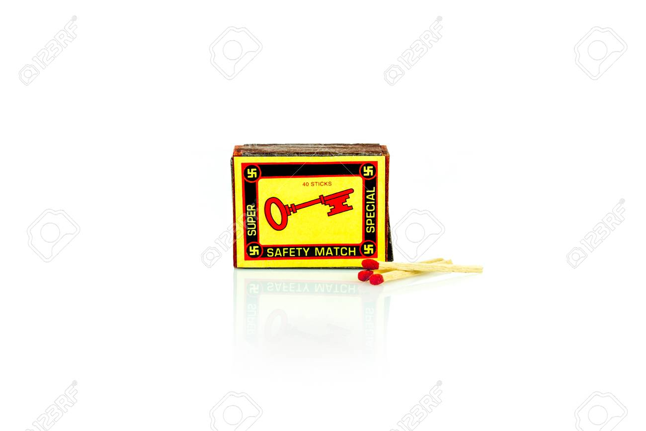 A vintage match box with a key  on the front. Isolated studio shot on white background. Stock Photo - 90362073