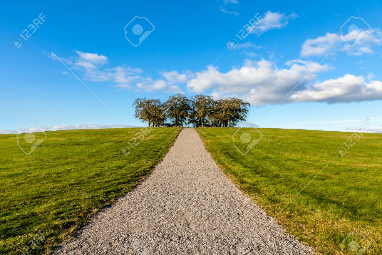 Peaceful and beautiful landscape view of a gravel walkway up a grassy hill with a group of trees against blue cloudy sky. Stock Photo - 94904936