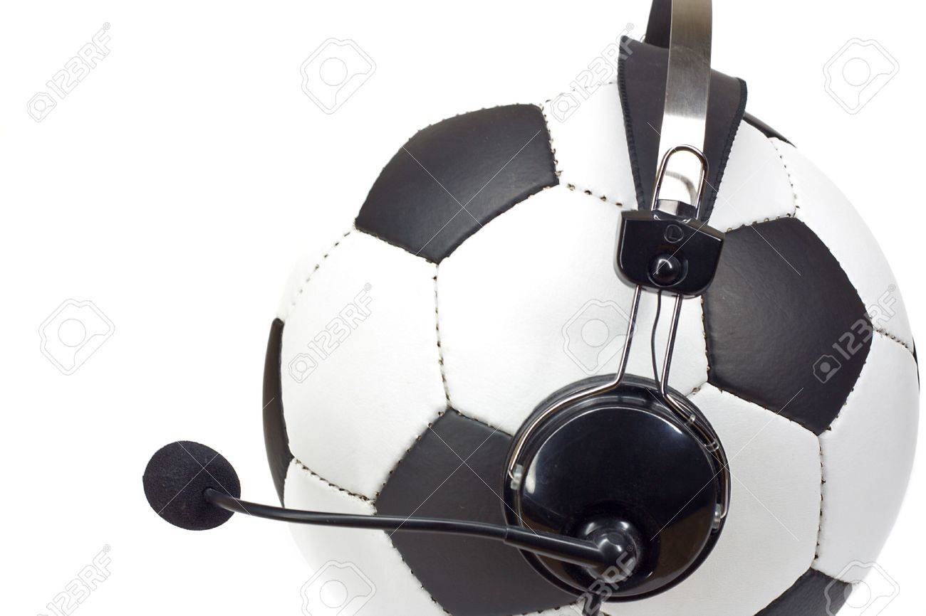 soccer concept, classic ball in headphones, as commentator isolated on white Stock Photo - 2923105