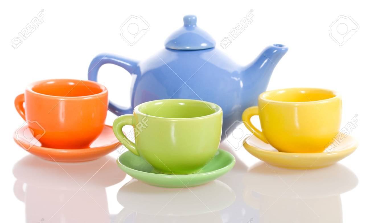 teapot and cup set, isolated on white Stock Photo - 4171071